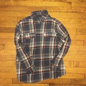 Blue and Martin plaid flannel button up
